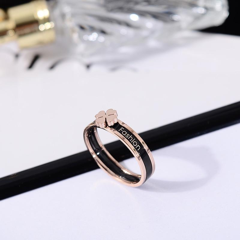 Cluster Rings YUN RUO Arrival Fashion Black Flower Two-in-one Ring Rose Gold Color Woman Titanium Steel Jewelry Top Quality Never Fade