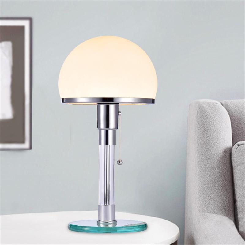 포스트 - 현대 LED 테이블 램프 패션 Wilhelm Wagenfeld Bauhau 램프 책상 조명 침실 침대 머리맡의 광택 유리 전등