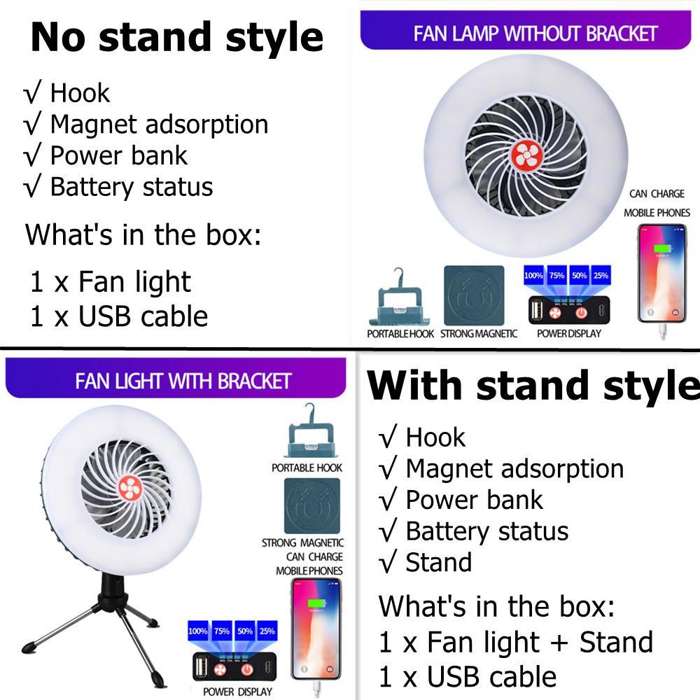 Lanterna de luz de acampamento com ventilador recarregável lanterna lanterna lâmpada lâmpada lâmpada financeiro função de funcionamento emergência para iluminação ao ar livre
