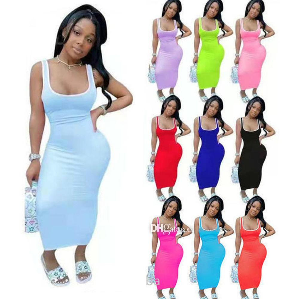 Summer Casual Dresses One Piece Scoop Neck Womens Solid Color Stitching Vest Long Maxi Dress Nightclub Wear Bodysuit Cause Skirt