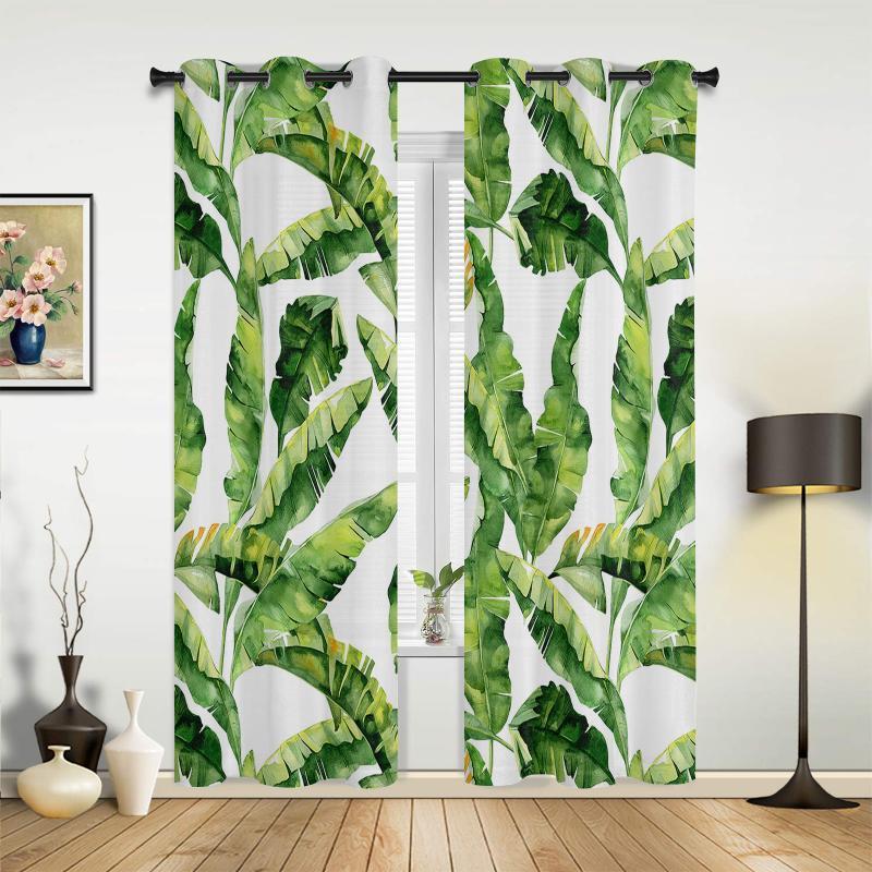 الموز ليف نبات الاستوائية يترك نافذة ستائر ديكور المنزل نوم العلاجات الستائر ل غرفة المعيشة ستارة الستائر