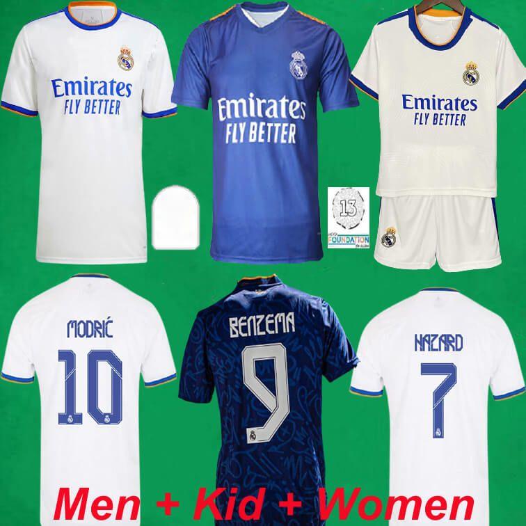 Real Madrid Soccer Jerseys 21 22 Home Away Dritter Player Version Football Hemden 2021 2022 Mbappe Alaba Gefahren Benzem Asensio Camiseta Männer Frauen Kids Kit
