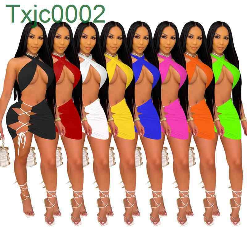 Women Dresses Designer Strapless Dress Off Shoulder Crop Top Bodycon Split Sexy Clothes Plus Size S-2XL Skinny Packaged Hip Skirt