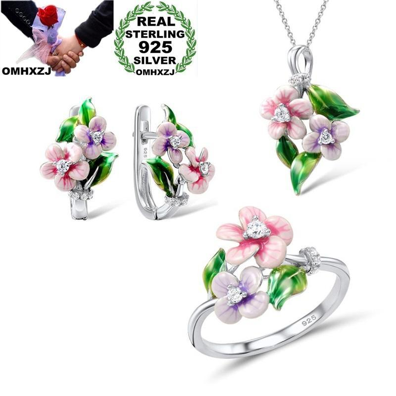 도매 JE41 패션 여성 파티 생일 결혼식 선물 꽃 925 스털링 실버 목걸이 + 귀걸이 + 반지 보석 세트 팔찌, 귀걸이