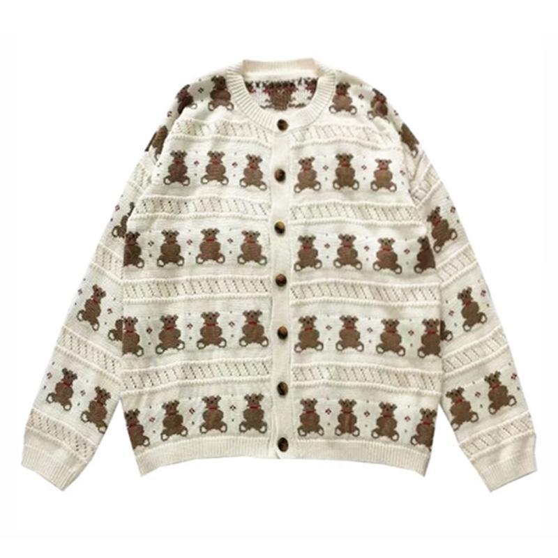 곰 만화 니트 스웨터 베이지 여성 O 넥 얇은 사랑스러운 카디건 소녀 짧은 버튼 폴카 탑 outwear 봄 가을 여성의 니트 티셔츠