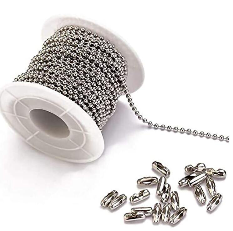 Collana a catena a sfera in acciaio inox 100metro con 20 collegatore con connettore set di perline argento (larghezza catena 1,5 mm / 2mm / 2,4 mm