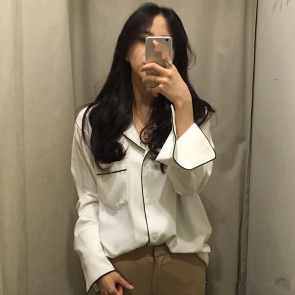 Осенние старинные женские рубашки Свободные полноту рукава V-образным вырезом Французский ленивый пижамный стиль блузки рубашка белый черный DF816 женские блузки