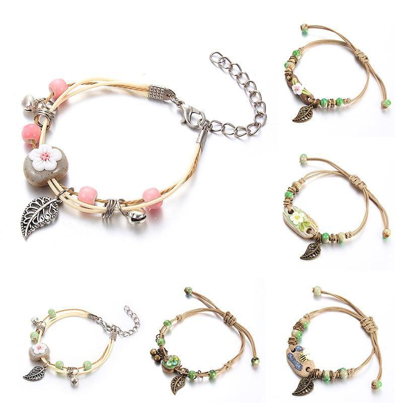 Простая мода ручной работы цветок листьев керамический маленький ювелирный браслет для женских браслетов ручной работы китайский стиль подарка