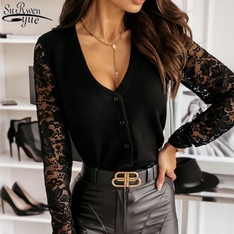 Camisetas de manga larga de encaje camisetas de cuello en V de un solo pecho de fondo con cuello en V sexy Top blusas femeninas 12684 210427