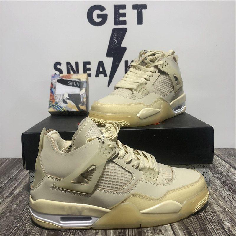 Top Quality Jumpman 4 4S Cactus Jack Homens Mulheres Basquetebol Sapatos Neon Court Roxo Criado Com Box Mens Trainers Sports Sneakers