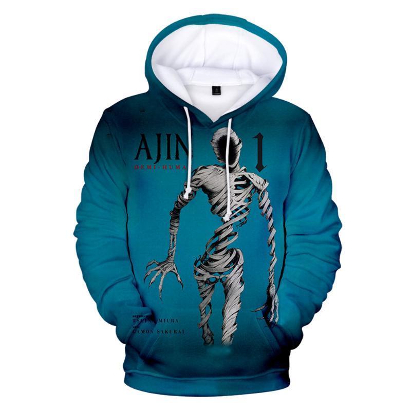 Herren Hoodies Sweatshirts Ajin Demi Menschliche Anime 3D Drucke Frauen Männer Mode Langarm Kapuzenschütze Beiläufige Streetwear Kleidung