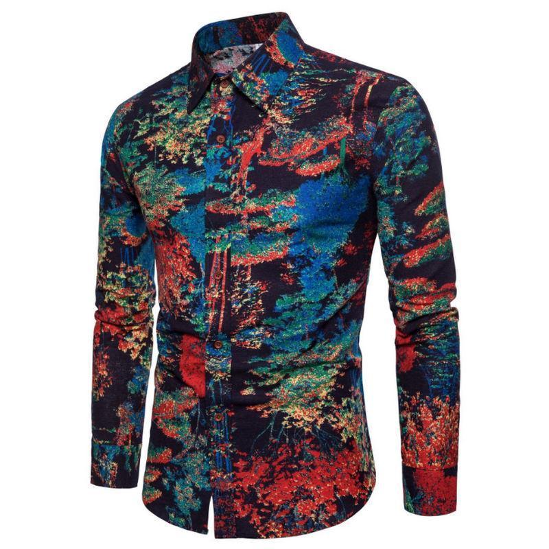 패션 봄 가을 캐주얼 남성 셔츠 슬림 맞는 꽃 인쇄 리넨 긴팔 셔츠 남성 꽃 사회 Masculina M-4XL 남자