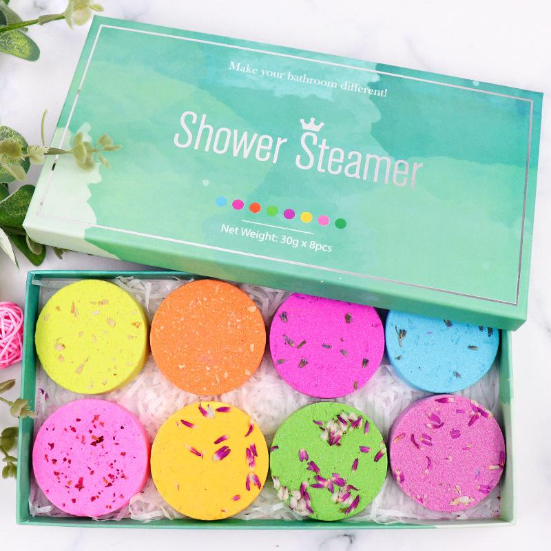 Shower Steamer Tablets Essential Oil Aromatherapy Bubble Bath Salt Block Lavender Dried Flower Fragrance Spa Exfoliating Bomb 30g gift box for sample