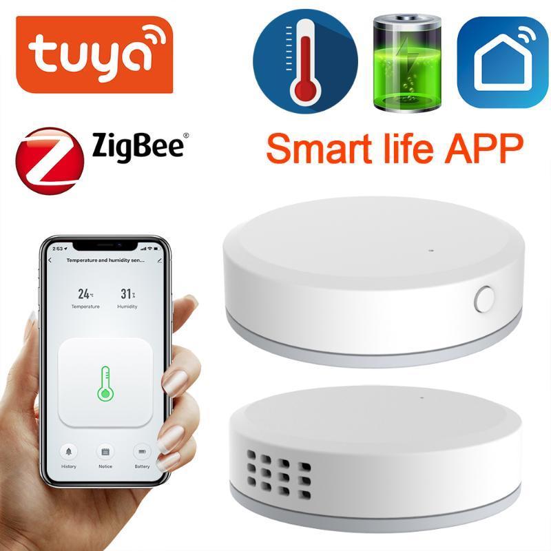 Smart Home Control Tuya Zigbee Humidité Humidité Sensormini Batterie intégrée Durée deoules de Bâtiment Automatisation Écran LCD