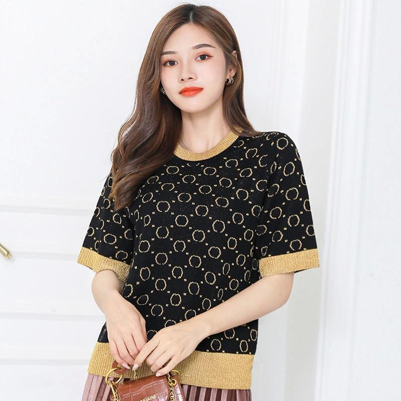 212 2021 Summer Sweater Pullover Manica corta Cloud Collo Stampa Brand Same Style Black Prom Fashion Luxury Womens Vestiti D