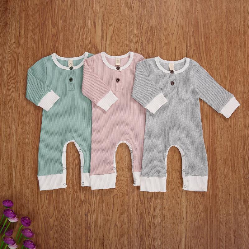 0-18m Infant Born Baby Kleinkind Mädchen Jungen Herbst Strampler Kleidung, Solide Langarm Jumpsuit Casual Spring Playsuit Outfit Overallsuits