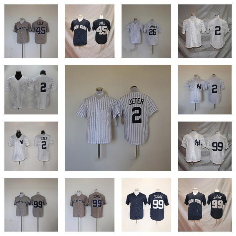 Baseball-Trikots Uniform 45 Gerrit Cole 26 dj lemahieu 99 Aaron Richter 2 Derek Jeter