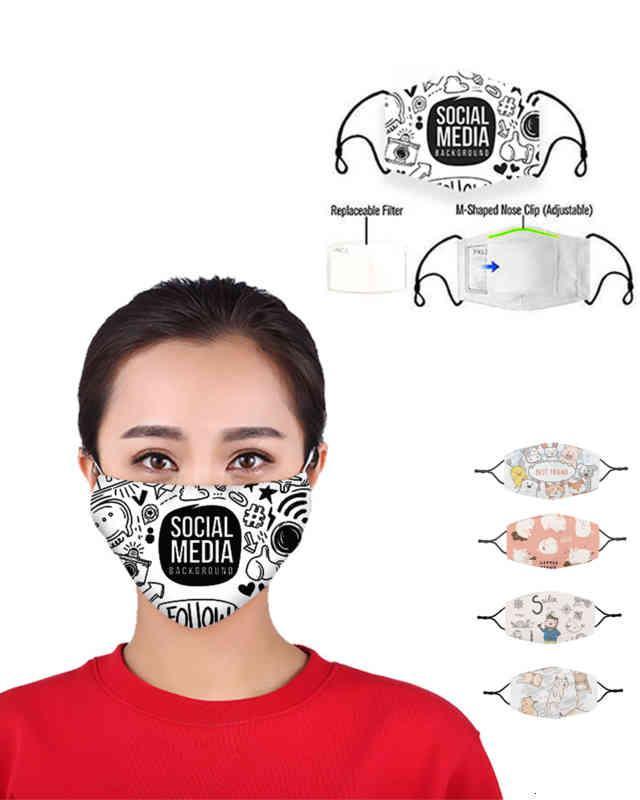 Auf Lager Druckkatze Niedliche Piggy-Außenmasken Party-Spot PM2.5 Baumwoll-Mund-Gesicht abnehmbarer Filter Tiermaske