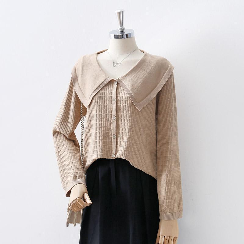여성 가을 겨울 스웨터 야생 레트로 느슨한 긴팔 싱글 브레스트 카디건 단색 톱 GX1536 여성용 니트 티셔츠