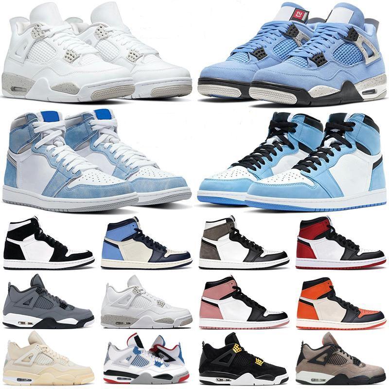 أحذية كرة السلة الرجال النساء 1 ثانية 4 ثانية عالية og 1 Hyper Royal University الأزرق الداكن Mocha تويست الأسمنت الأبيض أوريو أسود القط الرجال أحذية رياضية