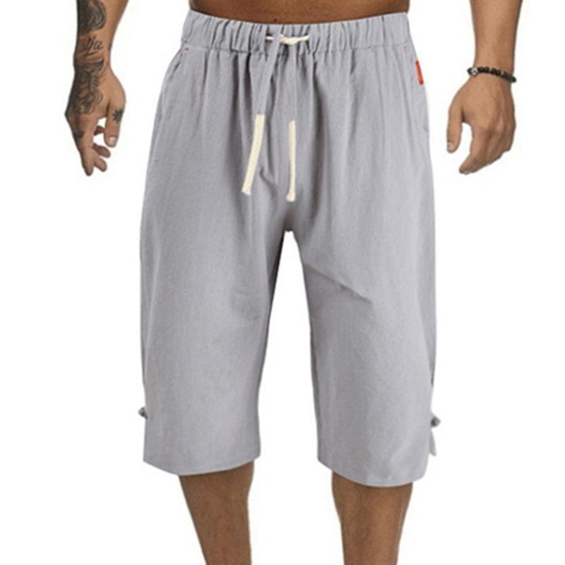 Pantaloni da uomo Summer Men Beach Casual Elastico Elastico Gamba larga Gamba BAGGY Scawnistring Shorts Solid morbido allentato femmina per vacanze