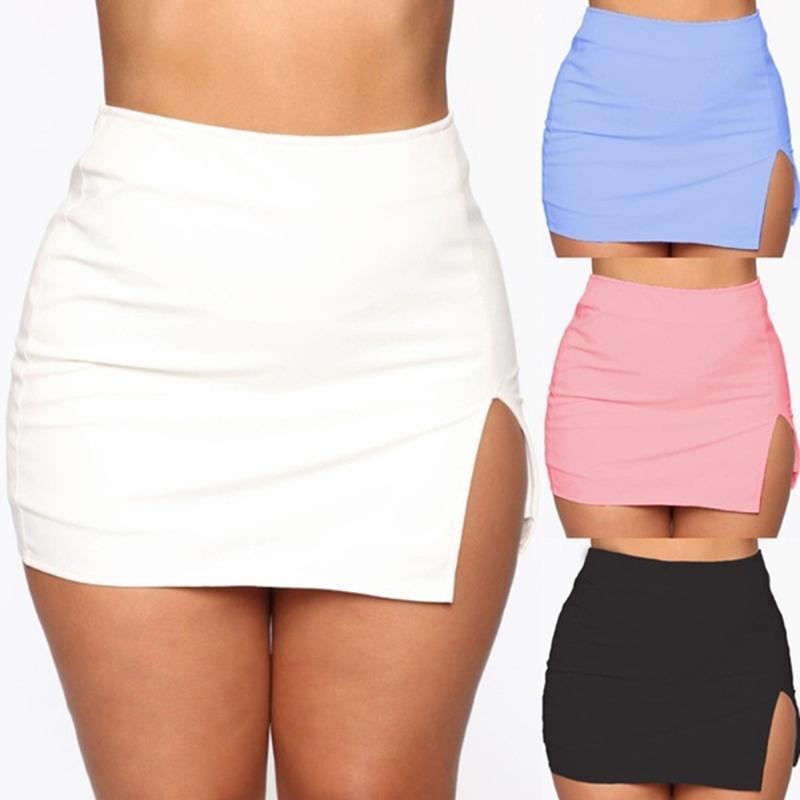 Frauen mini hemd sommer sexy dünne plus größe solide farbe weibliche aufgeteilte hohe taille pencil rock club mode