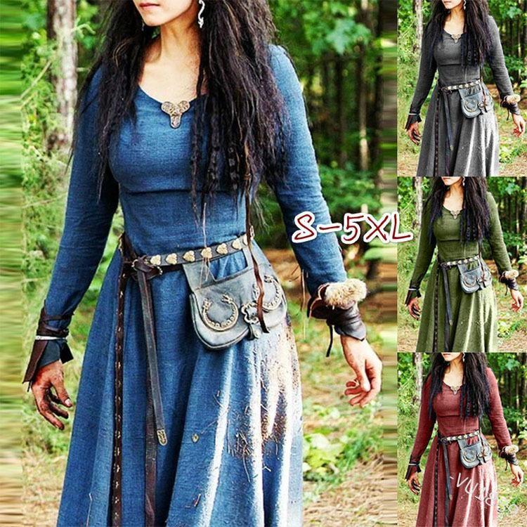 Mittelalterliche Langarm Maxi Kleid Frauen Robe Vintage Fairy Elven Renaissance Keltische Viking Gothic Bekleidung Fantasie Ballkleid Gelegenheitskleider