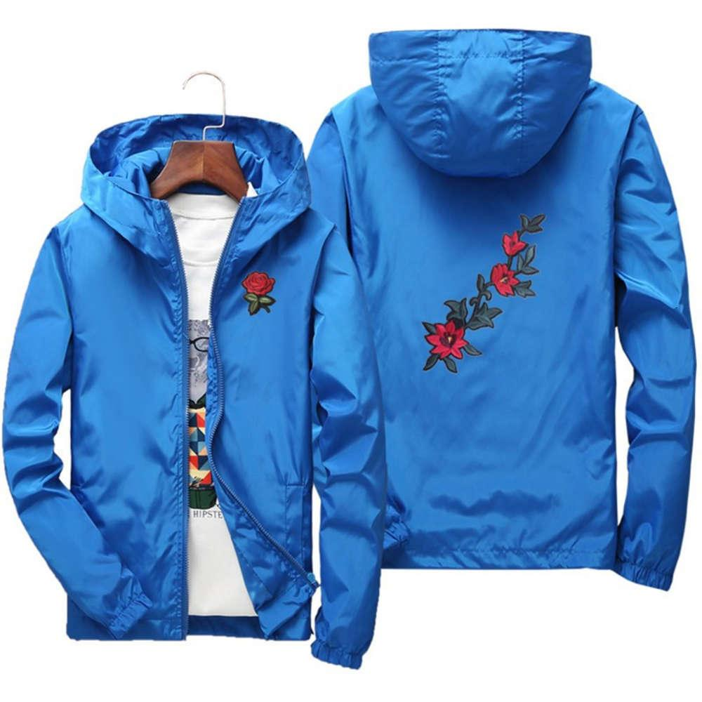 Rose Embroidery Jackets Men Women Windproof Polyester Jacket Coat Hip Hop Casual Family Clothing Plus Size 6XL 7XL