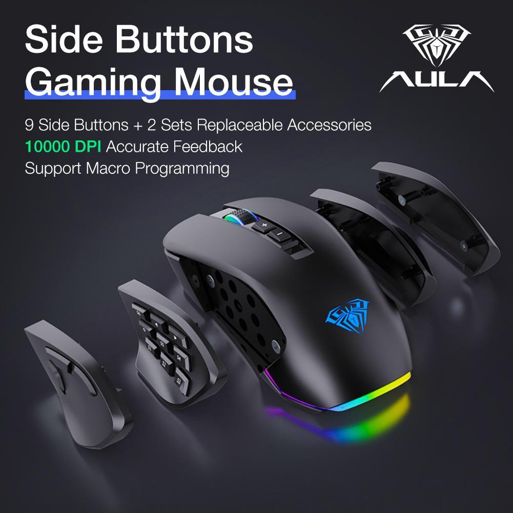 Aula RGB ماوس الألعاب السلكية 10000 DPI مريح 14 مفاتيح الفئران اللاعب كمبيوتر محمول كمبيوتر سطح المكتب