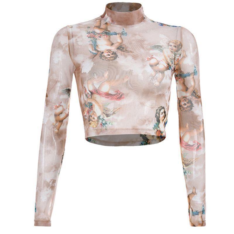 Damen Sommer Lange Ärmel Mock Neck Crop Top Romantische farbige Engel Cupid Printed T-Shirt Durchsichtig Mesh Party Club 4 210420
