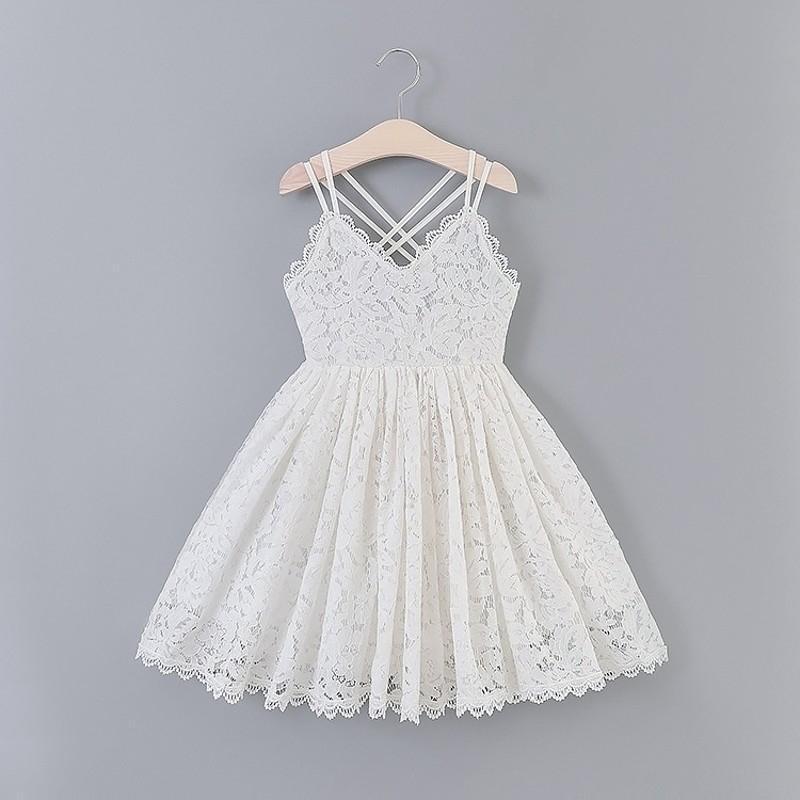 Weiße Spitzenkleider für Mädchen Blume Stickerei Sleeveless Kleidung Kinder Kinder Hochzeit Holiday Party Prinzessin Sommerkleid Mädchen