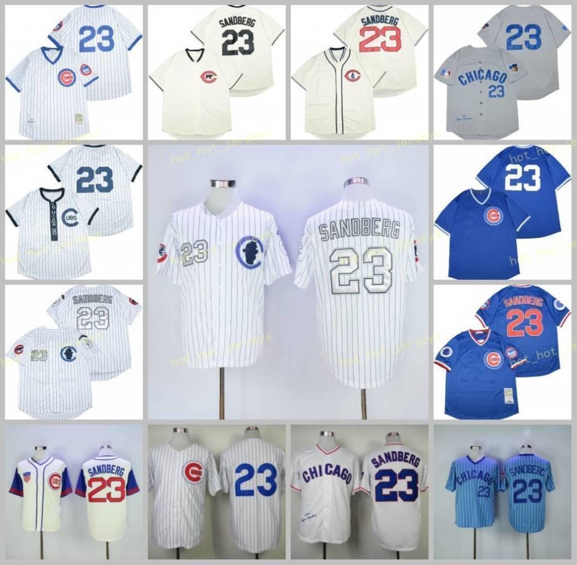 متقاعد 23 Ryne Sandberg البيسبول جيرسي 1909 1984 1969 1929 الشريط الأبيض خمر الرجعية كوبرستاون شبكة مخيط البلوز