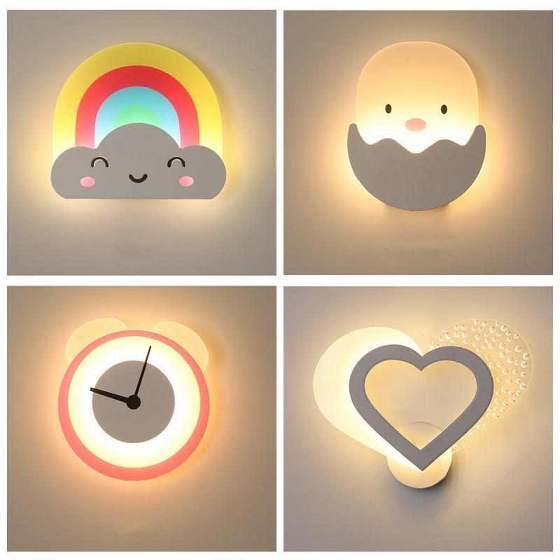 Creative Simple Dos Desenhos Animados Padrão Acrílico Parede Luz Nordic Rainbow Coração Chick Chipre Quarto Quarto Decoração LED Sconces Lâmpada