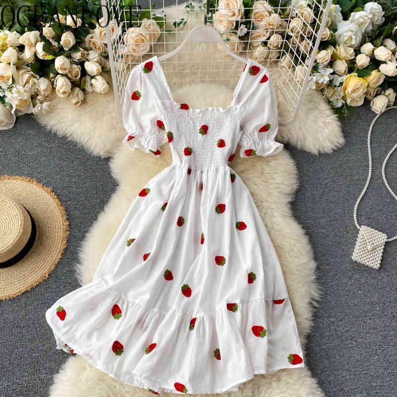 Frutas bordadas Vestidos de mujer Manga Sweet Vestidos A-Line Cuello Cuadrado Vestido de verano Cintura alta 210415
