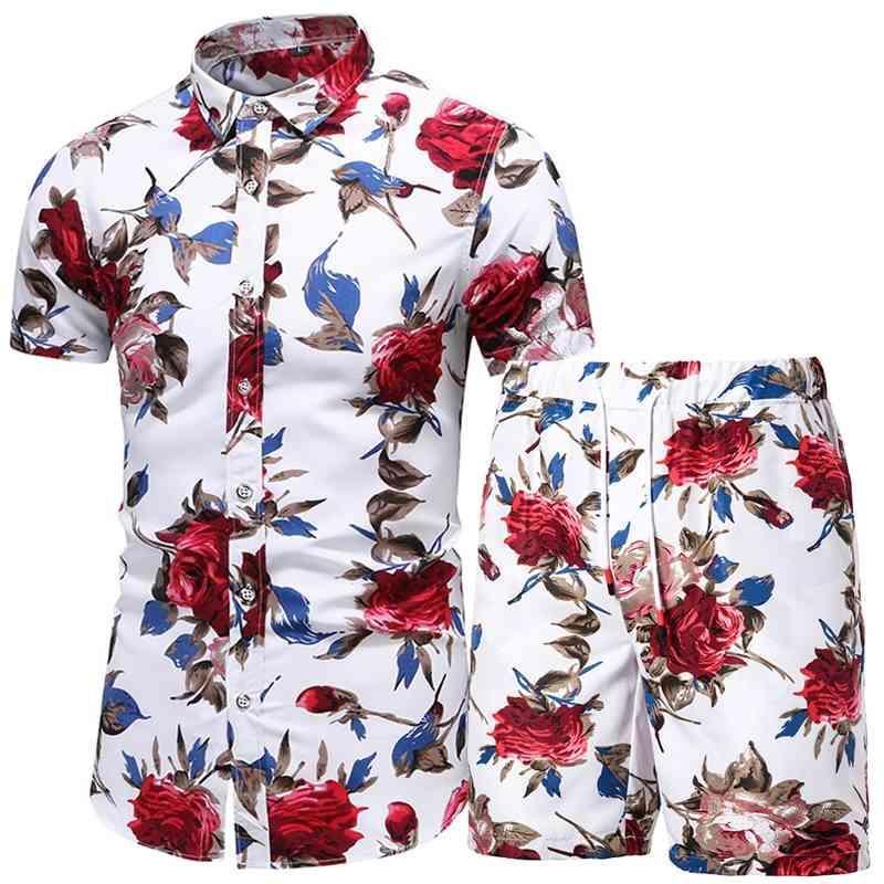 Hommes 2 pièces Summer Homme d'été imprimé et plage de plage Shorts Hawaiian Shirt Set Vêtements de mode 210330