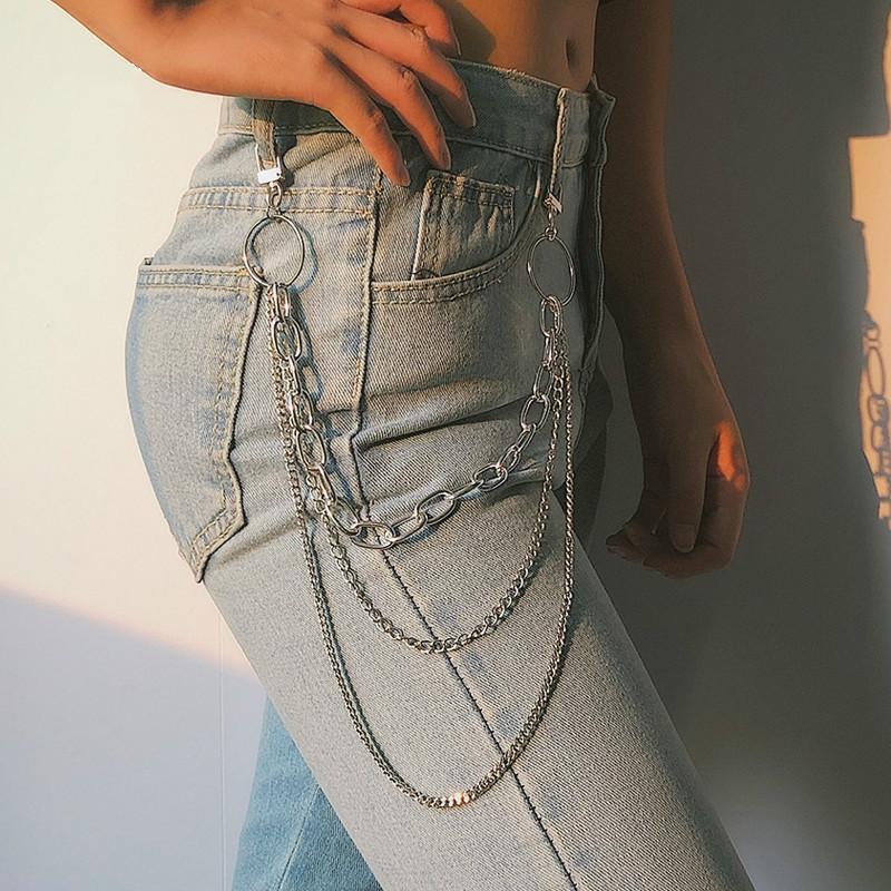 أحزمة المرأة الشرير بانت سلسلة حزام الإناث الهيب هوب الشرابة السراويل الفضة الذهب للسراويل امرأة باردة سلاسل معدنية على الجينز 290