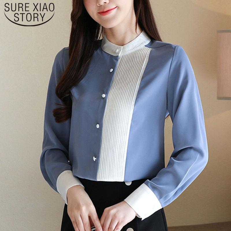 Casual Striped Damen Tops Chiffon Hemden für Frauen Button Blusas Mujer de Moda Feste Blusen Stand 8020 50 210512