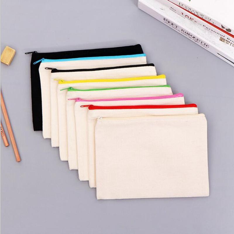 مربع فارغة التسامي أكياس التخزين الإبداعية قماش سستة حقيبة مستحضرات التجميل الأزياء diy اللوحة طالب قلم رصاص حالة JJA124