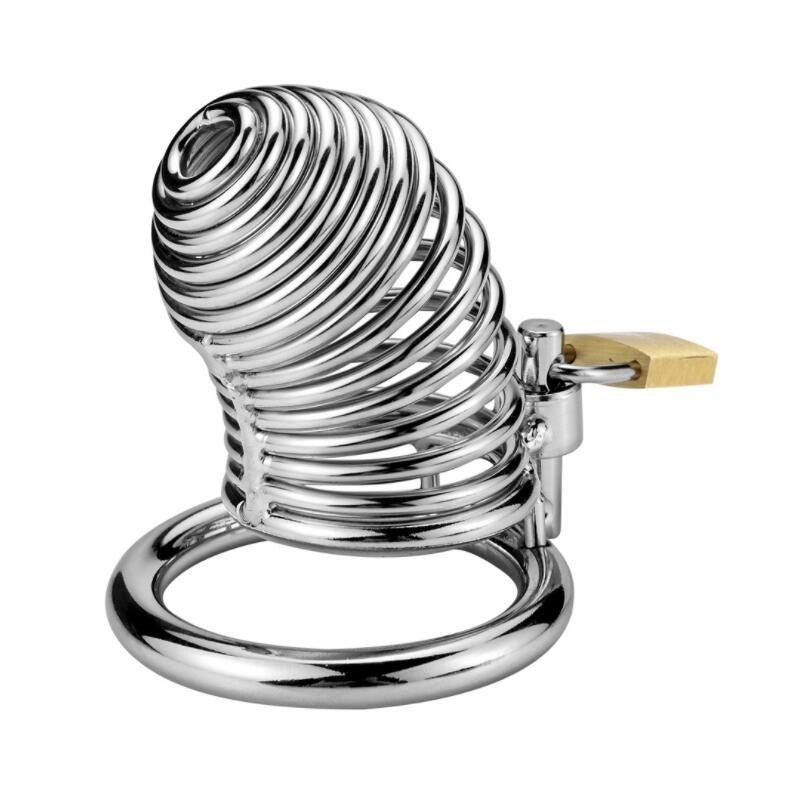 Neueste Schraubenart Männliche Edelstahl Hahn Cage mit Penis Ring Keuschheitsgürtelgerät Erwachsene BDSM Sex Spielzeug 018