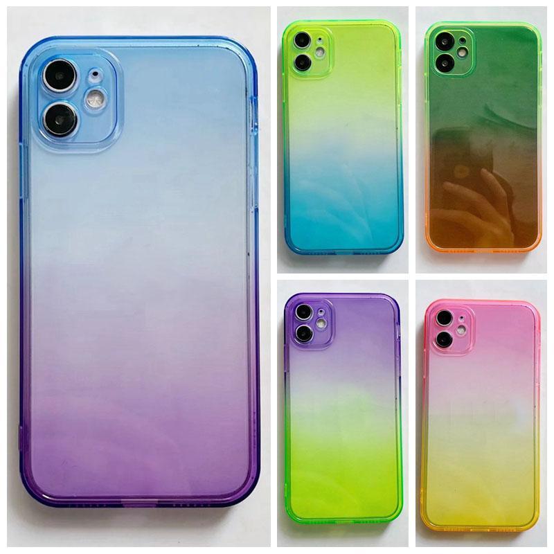 iPhone 12 Mini 11 Pro Max XR X XS 8 7プラスクリアクリスタルファインホールデュアルカラーTransareepnt Jelly Phone Skin FasharePnt Jelly Phoneのファッションカバー
