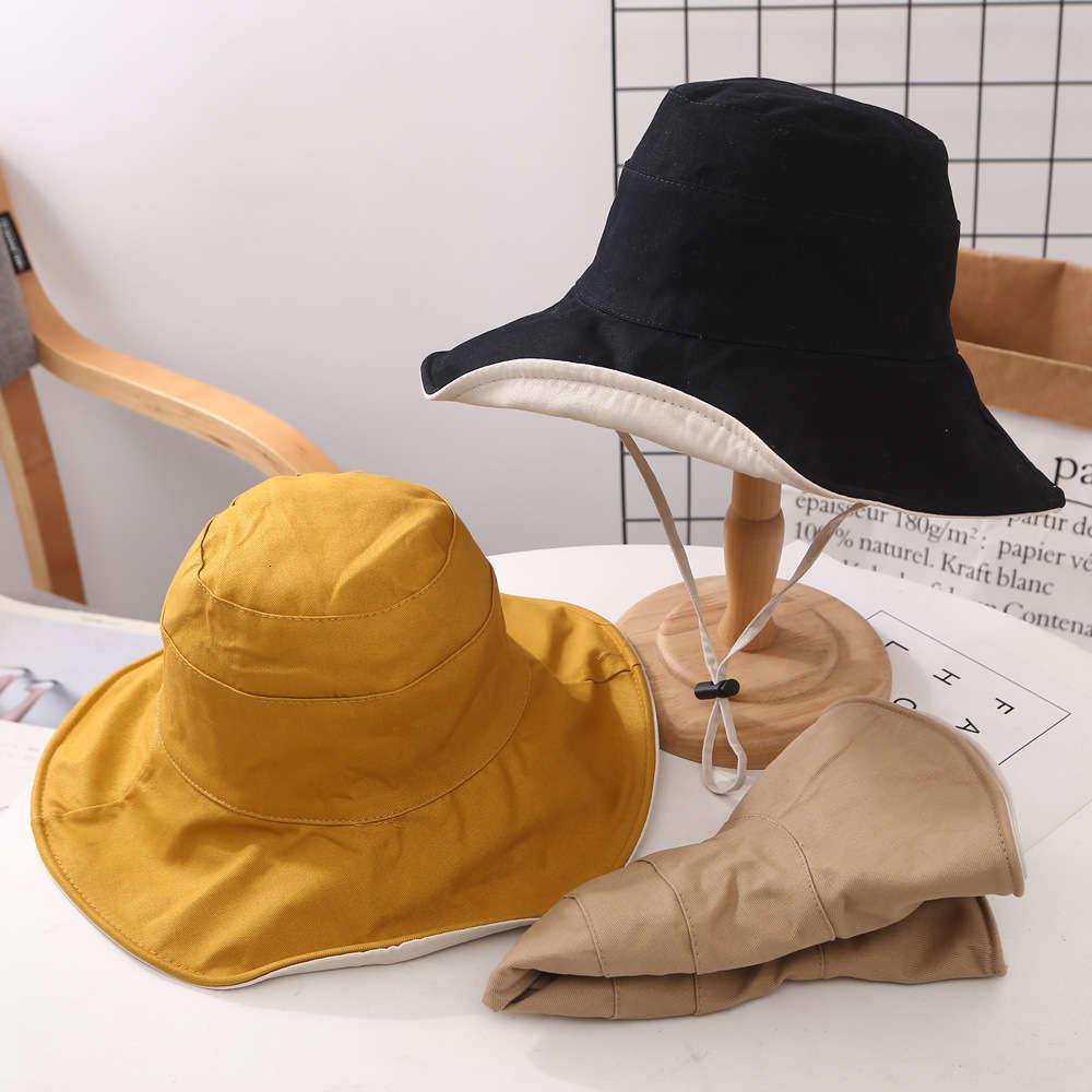 Cotton Korean Double-sided Fisherman's Hat Women's Simple Big Brim Foldable Sunshade Summer Outdoor Versatile