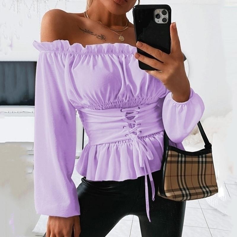 Kadınlar Sonbahar Katı Kapalı Omuz Bluz Gömlek Seksi Slash Boyun Uzun Kollu Lace Up Korse Bluzlar Güz Blusas Mujer De Moda 210402