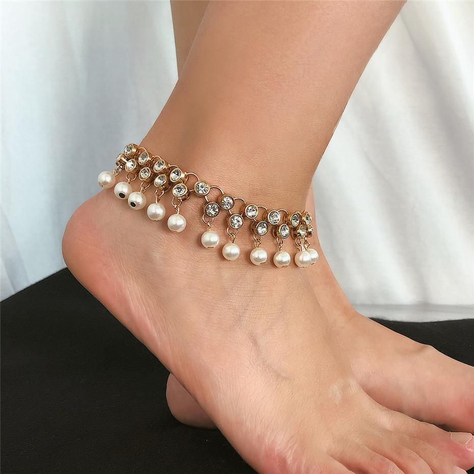Doce Imitação Pérolas Tassel Anklets Bracelet Mulheres Comprar Sandálias Coreano Luxo Luxo Brilhante Rhinestone Tornozelo Pé Jóias