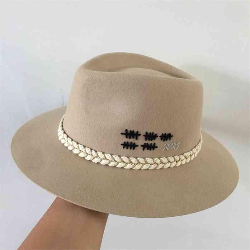 Fedora Inverno Panamá Cat Lã Pequena Sweet Wind Hat Edition Francês Moda Wide-Brim Inglaterra 210608