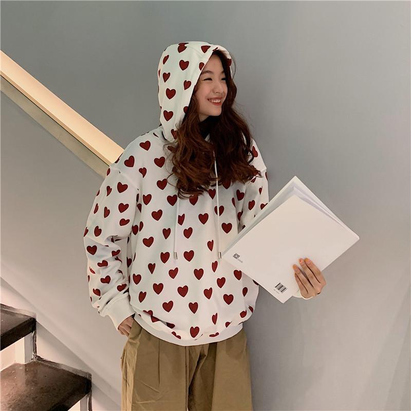 Damen Hoodies Sweatshirts Herbst College Style Love Gedruckt Weiß Sweatshirt Frauen Lose Student mit Kapuze