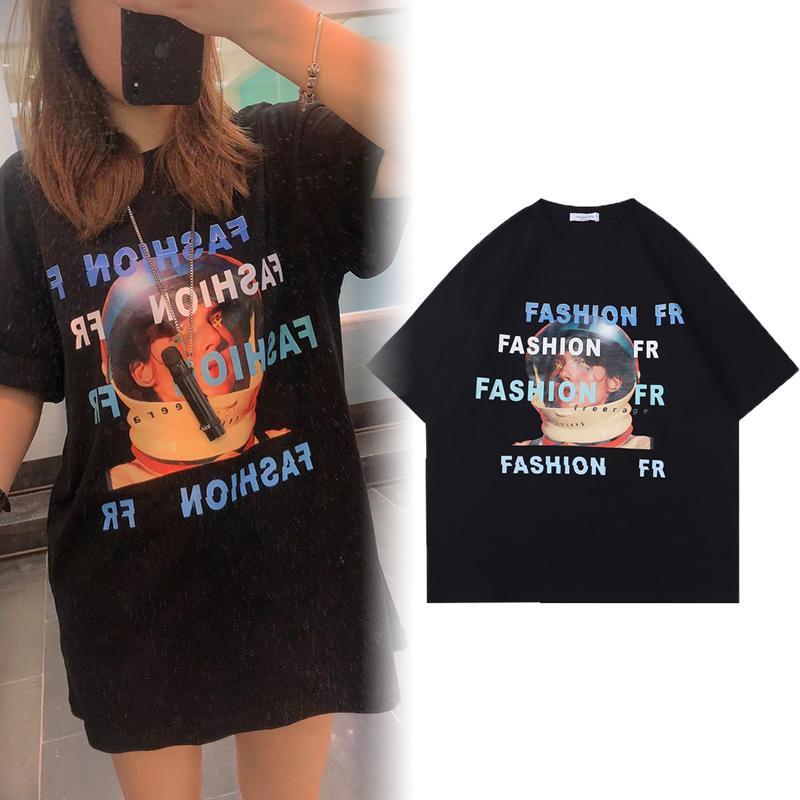 Primavera verão moda europa astronauta impressão tee camiseta homens mulheres oversize rua cool algodão tshirt
