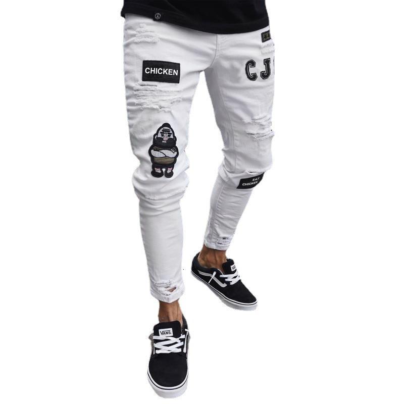 Erkek NY Jeans işlemeli delik tozlukları