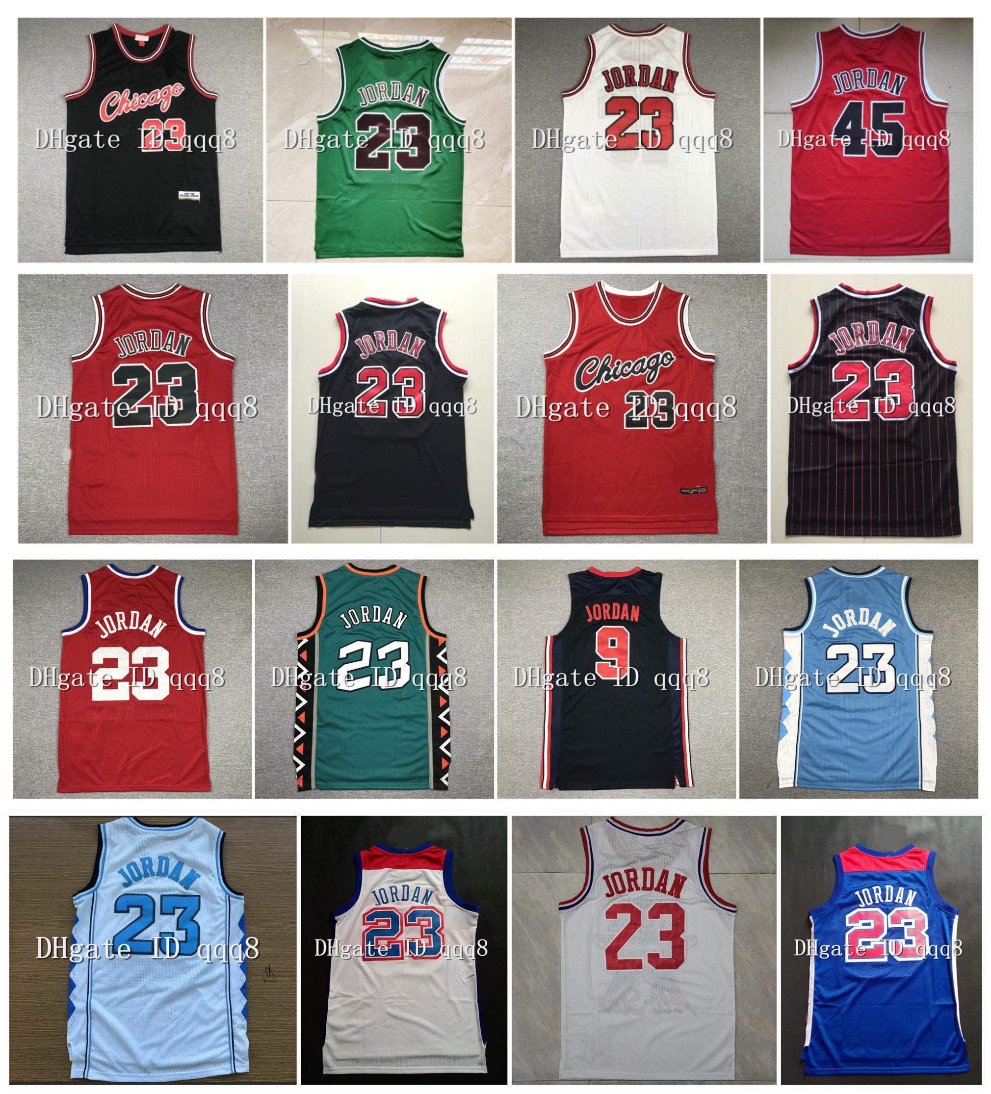 أعلى جودة ! شمال كارولينا كلية شيكاجوس 23 مايكل بول جيرسي خمر كرة السلة كلية 96 كل ستار الرجعية كرة السلة السراويل الرياضية جيرسي