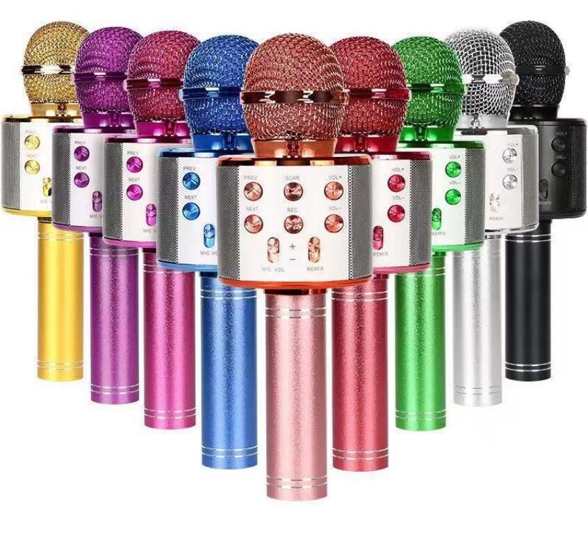 WS858 ميكروفون اللاسلكية بلوتوث كاريوكي WS-858 usb ktv لاعب الهاتف المحمول ميكروفون مكبر الصوت تسجيل الموسيقى + مربع التجزئة رائعة