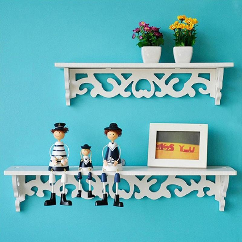 Creative Carved Hollow Wood Wall Hanging Rack Shelf Shelve Holder Storage Home Decor Organizer Bedroom Decoration Decorative Flowers & Wreat